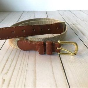 Coach Natural Linen & Brown Leather Belt Sz 32